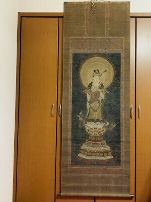 Hanging scroll antique art Kannon Buddha statue from Japan
