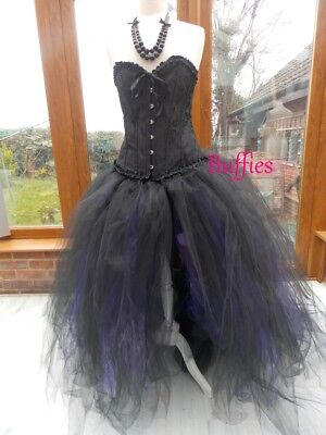Long Tutu Black Witch Halloween Fancy dress Vixen Vampire Gothic wedding sz 6-20