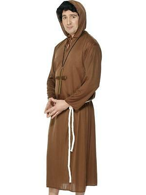 Mens Monk Costume Brown Hooded Robe & Belt Halloween Religious Habit Adult M L - Monk Robes