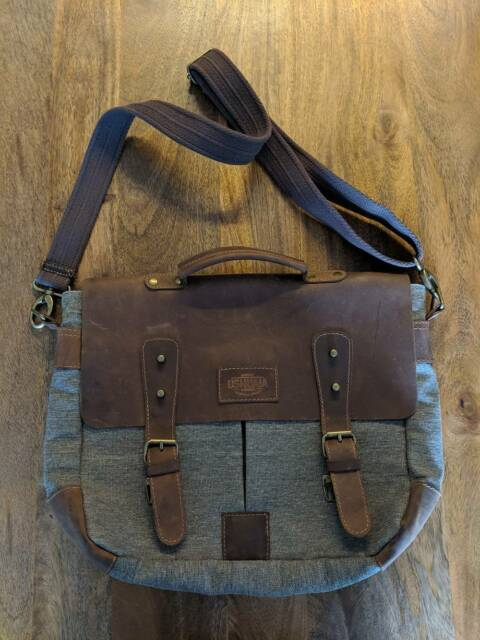 01c33c13fb Mens leather and fabric satchel messenger bag