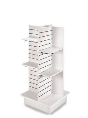 4 Panel White Slatwall Tower Casters And Shelves 23 X 23 X 54