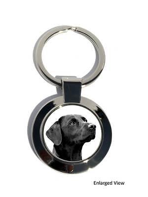 Black Labrador Retriever Dog Round Chrome Plated Keyring Boxed Gift