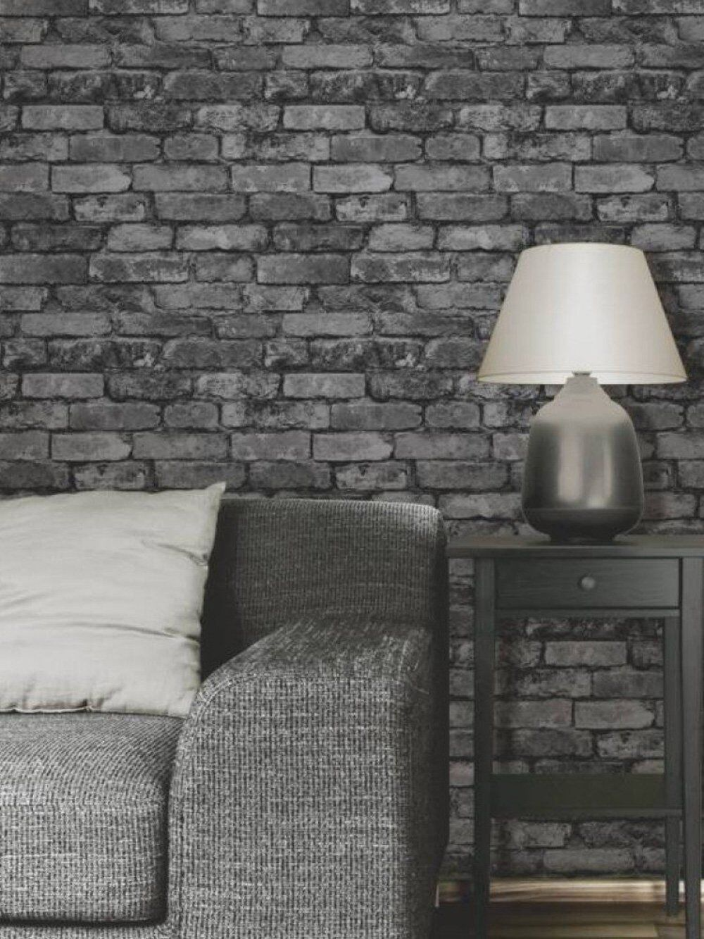 Fd31284 black charcoal silver grey rustic brick wall for Brique de parement interieur