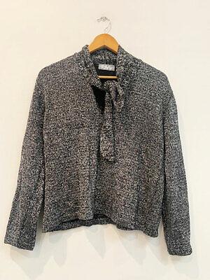 80s Sweatshirts, Sweaters, Vests | Women Designer Valyer Paris 1980s Silver Knit Tie Neck Perfect Women's Vintage Jumper $18.56 AT vintagedancer.com