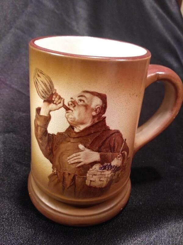 ANTIQUE BROWN DRINKING MONK FRIAR FRUIT BASKET BEER STEIN MUG MORRIS & WILLMORE