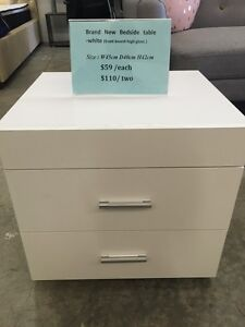 Front Board High Gloss Bedside Table Black/White $60 2 For $110 Clayton Monash Area Preview