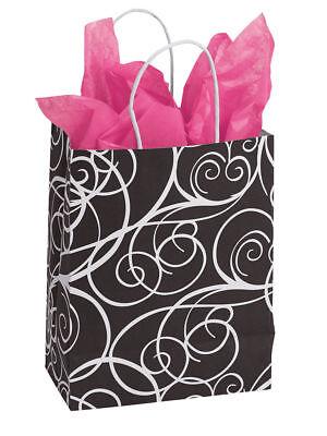 100 Paper Bags Elegant Swirl Black White Cub Merchandise Shopping 8 X 5 X 10