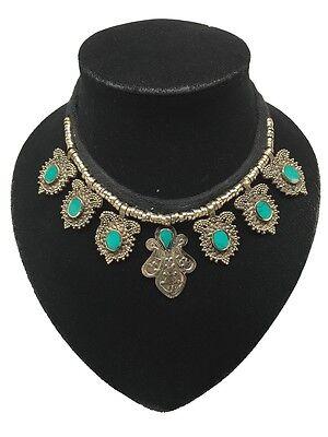 Vintage Afghan Turkmen Green Turquoise Inlay Kuchi Boho ATS Choker Necklace,CK12