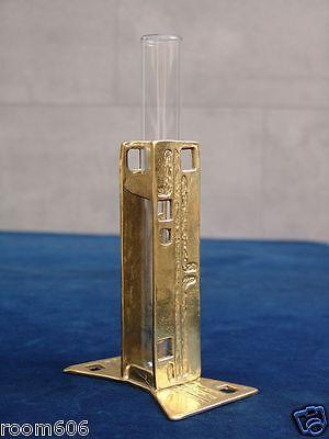 60er Jahre Design Vase - Messing - Glas / Reagenzglas