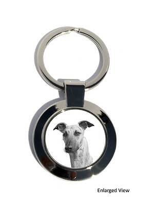 Lurcher Dog Round Chrome Plated Keyring Boxed Gift