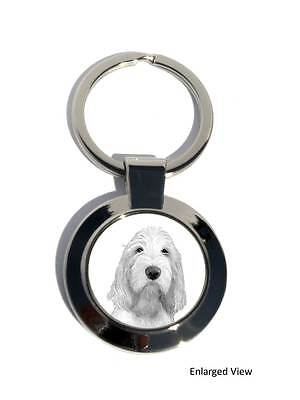 Italian Spinone Dog Round Chrome Plated Keyring Boxed Gift