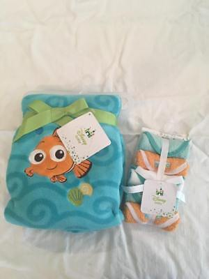 New! Disney Baby Finding Nemo Blanket and 5-Pack Washcloths Layette - Baby Finding Nemo