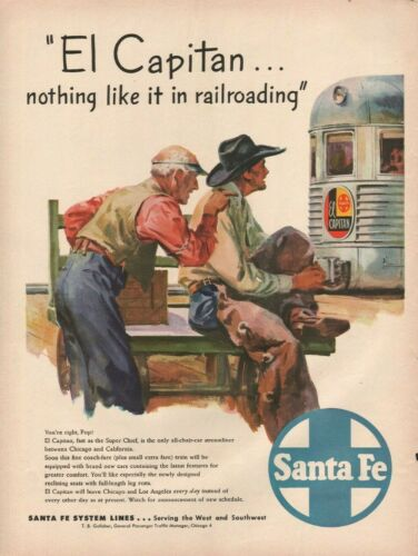 1943 Santa Fe El Capitan Train - Vintage Railroad Ad