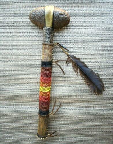 Vintage Native American Tomahawk Indian Head Stone Beaded Handle w/ Antler Tip