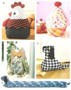OWL-CUPCAKE-CHICKEN-DOG-CUSHION-DOORSTOP-CRAFT-SEWING-PATTERN