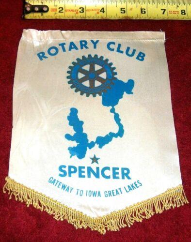 VINTAGE Rotary International Club wall banner flag    SPENCER   IOWA