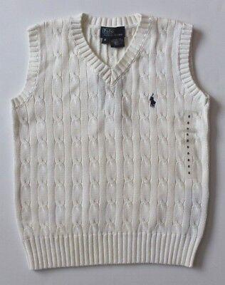 Ralph Lauren Boys V Neck Sweater Vest Cable Knit White Size 6 NEW