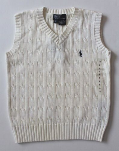 Ralph Lauren Boys V Neck Sweater Vest Cable Knit White Size 6 NEW