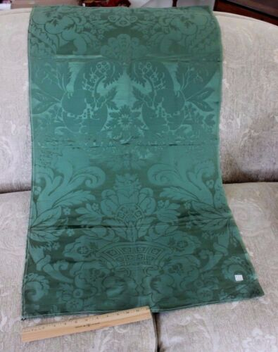 "Antique French Emerald Green ""Frame"" 19thC Home Dec Sample Fabric"