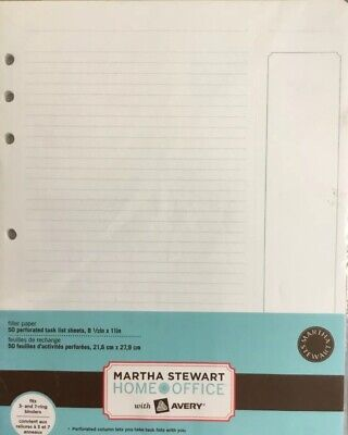 4 Pk Martha Stewart Perforated Task List Sheets 8.5in X 11in For D Ring Binders