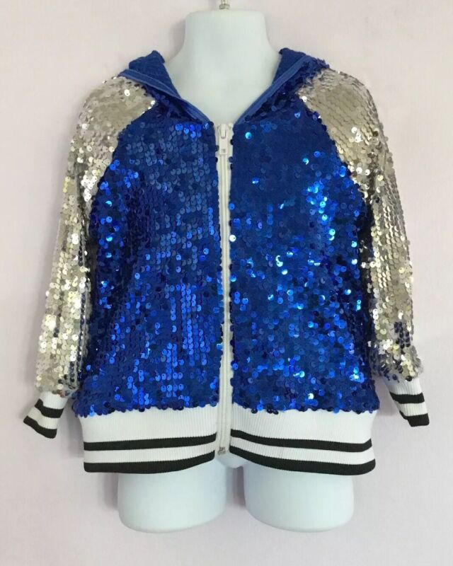 Weissman Jacket Dance Sequins Blue Silver Black White Child Small