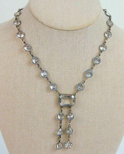 """Vtg 1930s Art Deco Sterling Silver Bezel Set Rock Crystal Lavalier Necklace 16"""""""