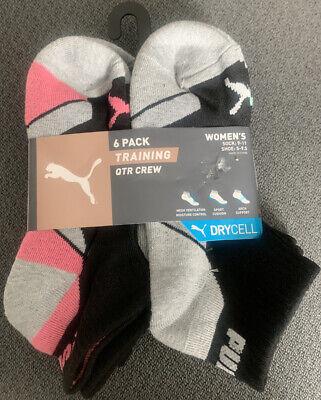 Puma Women's SportStyle 6-Pair QTR Crew Socks. Shoe Size 5-9.5 Dry Cell Design
