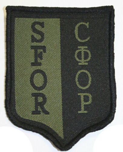 Military Bosnia Patch SFOR NATO Stabilization Force Green Black Subdued Genuine