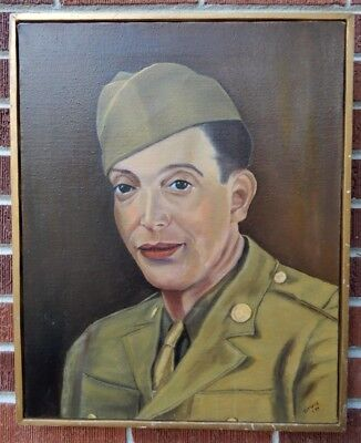 Vintage Military US AMERICAN Army Soldier MAN Male Oil Portrait Painting c1974