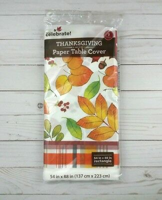 Paper Tablecloth Tablecover Party 54x88 Fall Leaves Plaid Thanksgiving](Thanksgiving Paper Tablecloths)