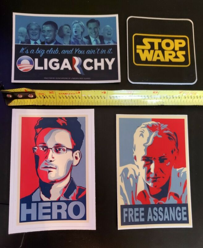 Edward Snowden Julian Assange Bumper Stickers Anti War lot of 4 #FREE ASSANGE