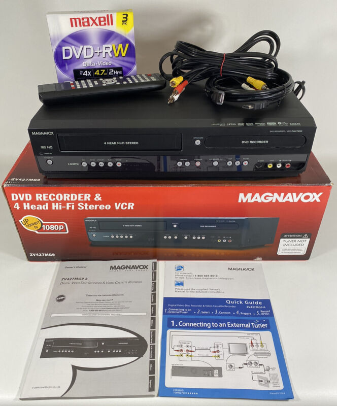 Magnavox ZV427MG9 DVD/VCR Recorder Combo HDMI Dubbing Remote Cables Tested Works