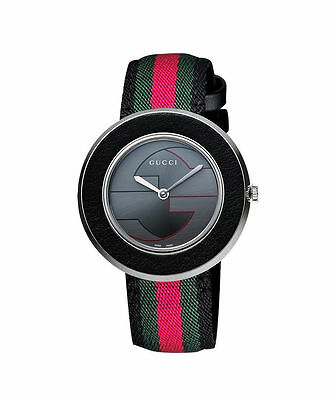 New Gucci U-Play Grey Dial Nylon Strap Ladies Watch YA129444