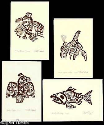 BILL REID 4 Emboss Haida Art Cards COPPER TOTEM PACKAGE Salmon Raven Orca Eagle