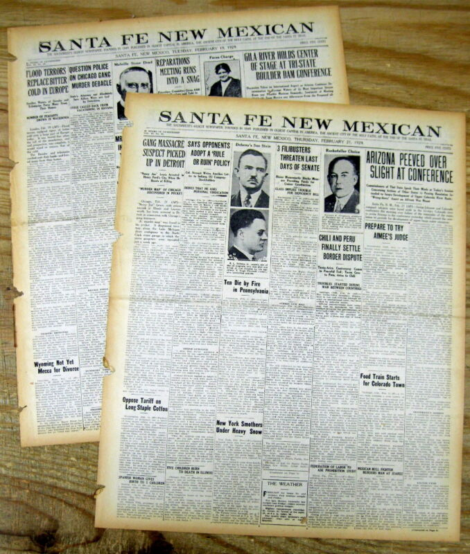 2 1929 newspapers AL CAPONE GANG & THE ST VALENTINES DAY MASSACRE in Chicago IL