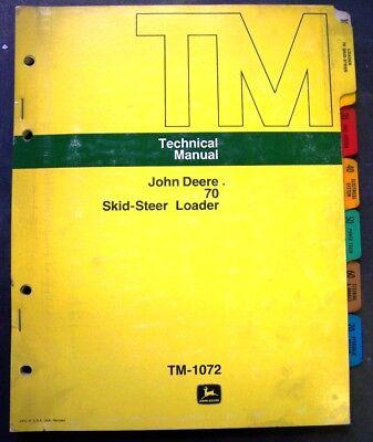 John Deere 70 Skid Steer Dealer Service Manual - Tm 1072