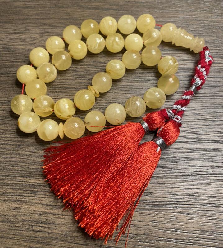 Natural Baltic Amber 45g 33 beads Rosary Amber 12.5mm كهرب بلطيقي حر كهرم