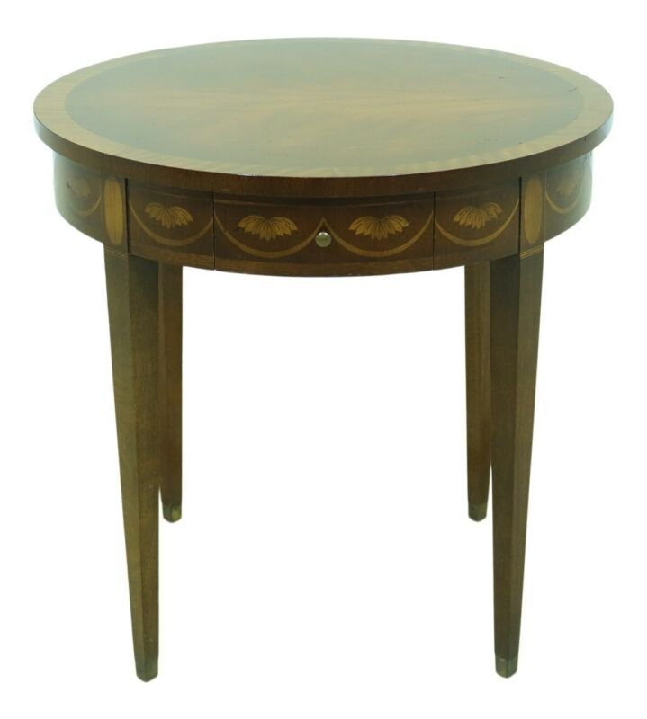 F51392EC: English Style Federal Inlaid Mahogany Round Occasional Table