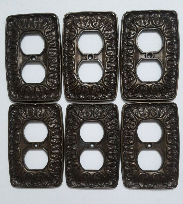 Lot of 6 Vintage • SA Electric Brass Outlet Covers • Amerock