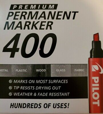 Pilot 400 Permanent Marker Red 4 Pack