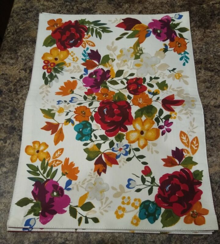 Set of 4 Pioneer Woman Placemats Timeless Floral - Bright Bold Colors Reversible