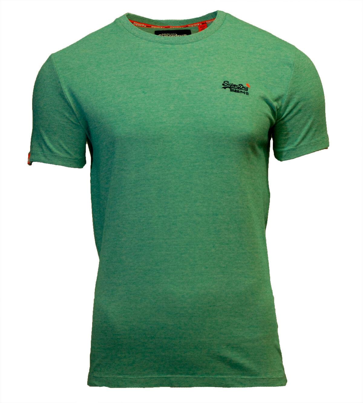Superdry Mens New Orange Label Crew Neck Short Sleeve T Shirt Green Grit Feeder