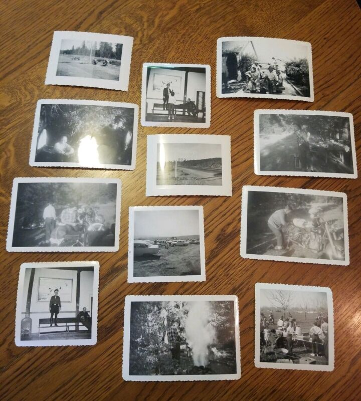 Motorcycle Racing Rally Gang Photo Lot of 12 1940-50s Vintage Harley Indian Mix