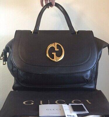 GUCCI Large Brown 1973 GG Handbag Top Handle Tote Bag