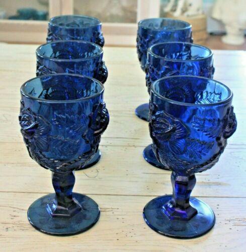 "6 Madonna Inn Rose Water Goblets 6.5"" Cobalt  Vintage Fenton LG Wright Wild"