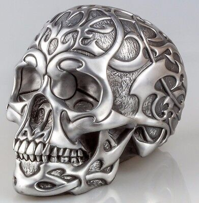 Stunning Pewter TRIBAL SKULL Head Statue Sculpture Ornament by Design Clinic