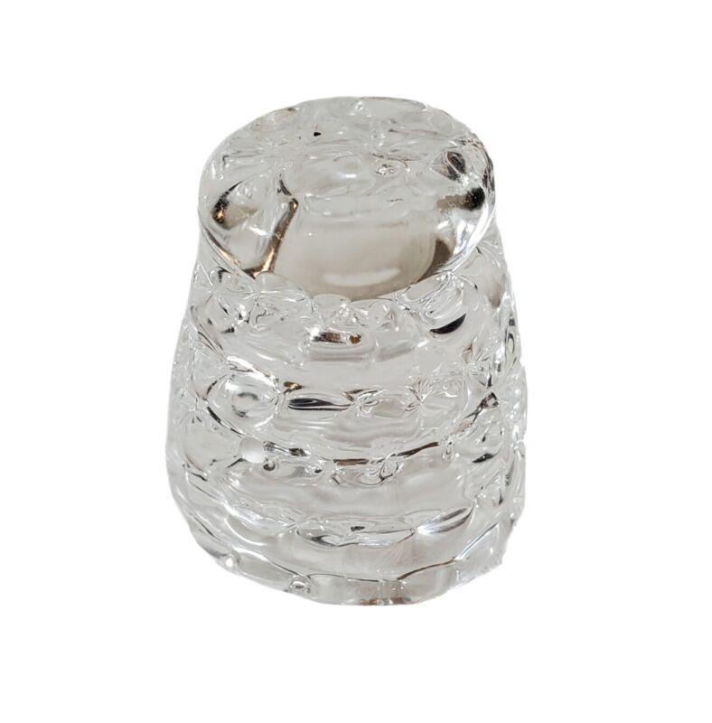 Hand Blown Clear Art Glass Thimble Spun with Pontif Artisan Arts and Crafts EUC