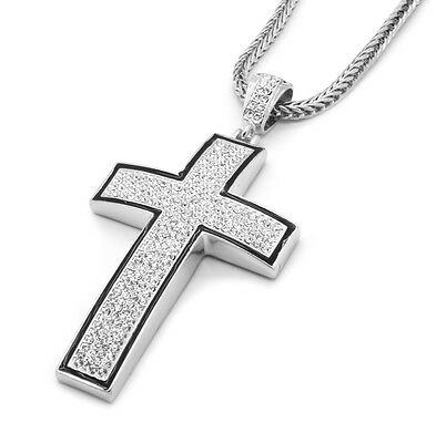 - Mens Silver/Black Iced Out Cross Pendant Hip-Hop 36