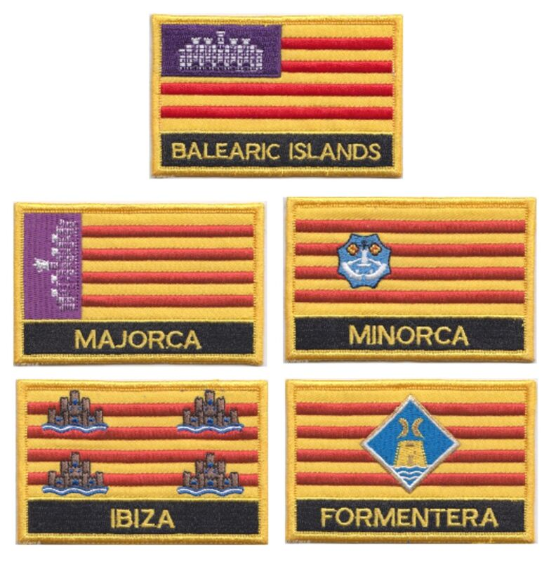 Spain Balearic Islands Set of 5 Flag Embroidered Rectangular Patches