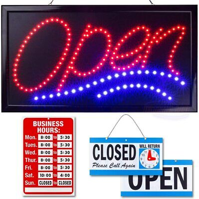 Neon Open Sign For Business Jumbo Lighted With Flashing Mode Large Indoor Up